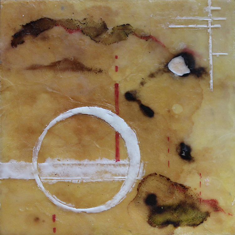 """Perigee Moon"", encaustic & mixed media on panel, 8"" x 8"""