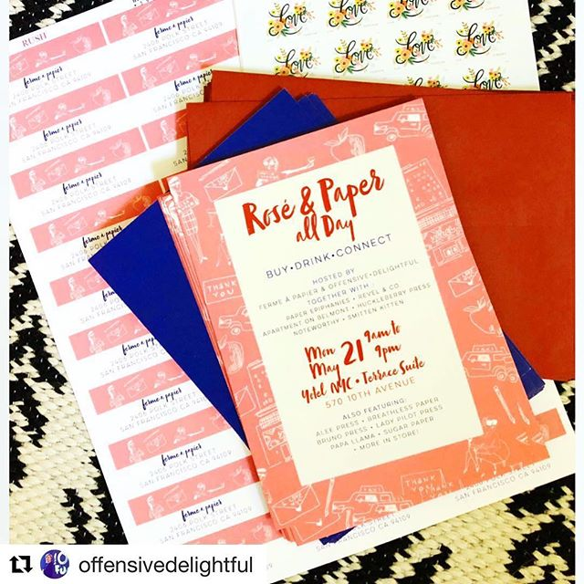 Very excited to be a part of Rosé x Paper All Day private buyer event on May 21st, 9-9 in NYC. 14 rad lines coming together! Want an invite? DM me!! @#Repost @offensivedelightful with ・・・ #roséxpaperallday If ur lucky you'll be getting one of these real soon. Private buyer event May 21ST at terrace suite yotel 9am -9 pm wine.chocolate. Paper. 14 incredible paper companies coming together for business and fun. DM me for more info.