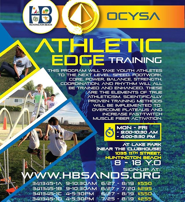 ASK ABOUT OUR TEAM SPONSORSHIPS!!! EARN UP TO 25% BACK FOR YOUR TEAM!!! ========================== SPEED & AGILITY *PLYOMTRICS & JUMPS * CORE & STRENGTH for Football, Soccer, LaCrosse, Basketball, Wrestling, Baseball, Softball, etc. ------------------------------------------------- SIGNUP: www.hbsands.org Search for Activity#: 341345 ========================== NOW AND ALL SUMMER LONG!  OCYSA is an HB-based 501c3 Non-Profit serving youths regardless of economic status. CoreStrength-Track-Tutoring-Wrestling-Judo-Speed-Agility-Core 949-439-6156 ocysa4youths@gmail.com  #fastfeet #footwork #youthtrack #speedwork #corestrength #plyometrics #jumps #youthsports #speedandagility #tracknation #soccer #football  #lacrosse #aysosoccer #hbsands #aysoregion56 #hbpwf #hbpopwarner #huntingtonbeach #huntingtondaily #surfcityusa #hbcult #hbculture #lakepark #downtownhb  #ocysa #ocysalife #huntingtondailylife