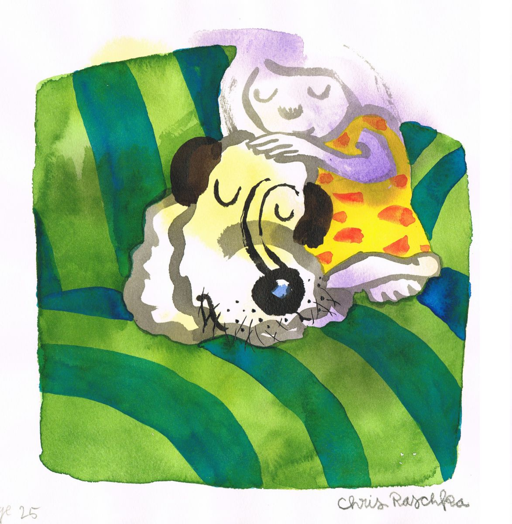 "Chris Raschka: ""Snuggling"" from ""A Ball for Daisy,"" 11 x 11"""