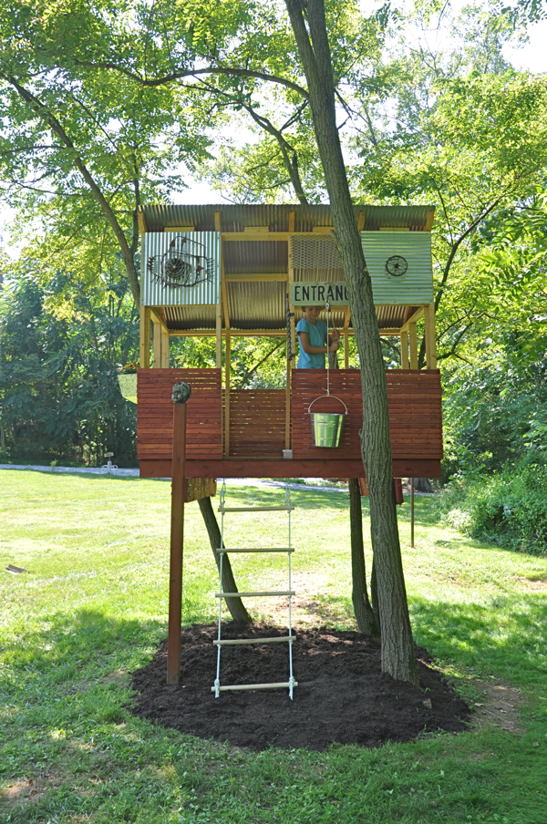 because our home is located at the site of an old farmhouse we have collected a lot of miscellaneous scrap trash to some but treasure to us - Kids Tree House