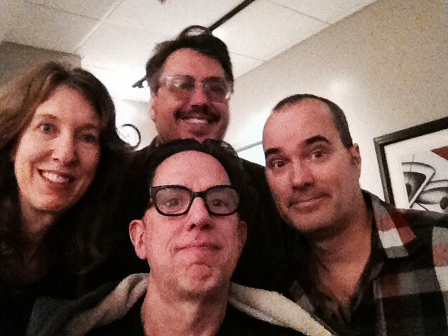 Clockwise from left, Joyce Hesselberth, John Flansburgh, Dave Plunkert, and John Linnell