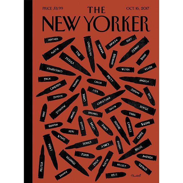 New cover for @newyorkermag by @plunkert. Our hearts go out to the people of Las Vegas. #spurdesign #davidplunkert #editorialillustration #lasvegas