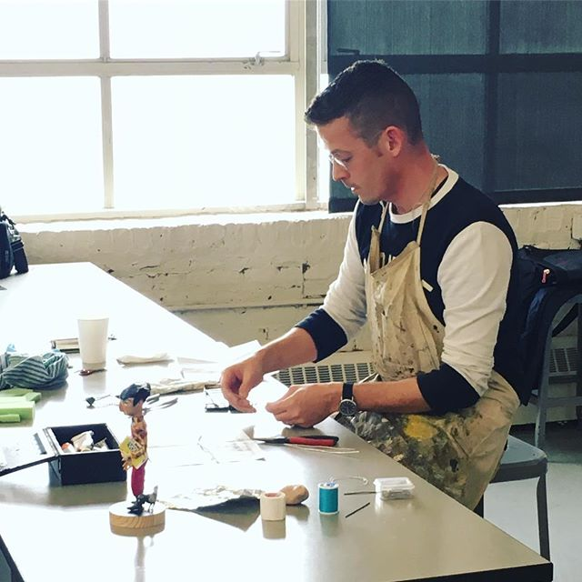 Chris Sickels @rednosestudio is visiting @micaillustration and animation students today! Lucky us. #animation #stopmotion #stopmotionanimation #childrensbooks #puppet