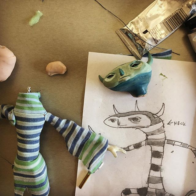 One more process shot with @rednosestudio. So nice to see sketch to final. #puppet #stopmotion #micamade #micaillustration @micaillustration