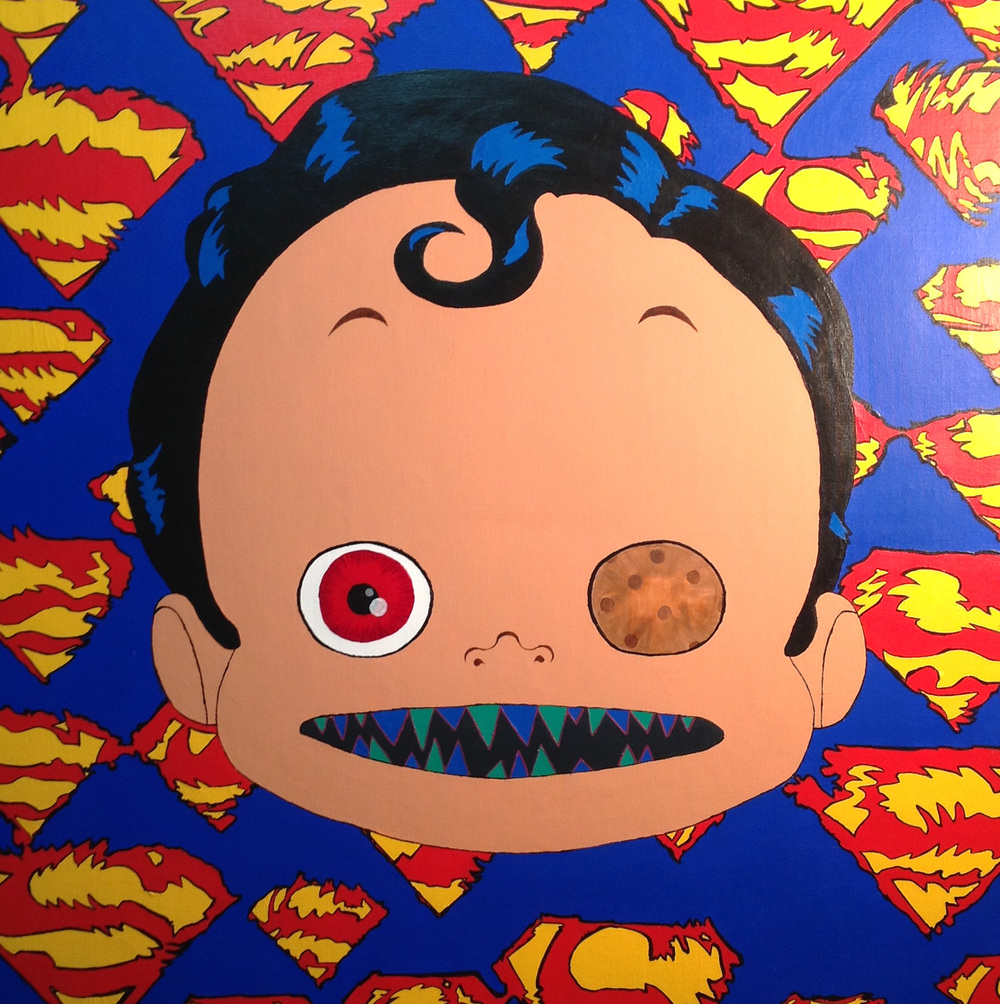 Superman: Creepy Doll  Acrylic on Canvas  30 x 30 inches  76 x 76 cm  2013