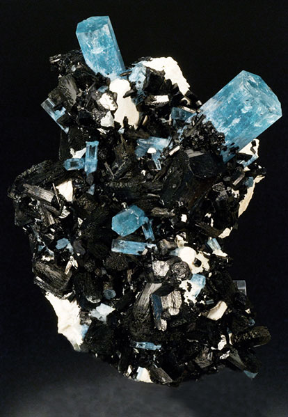 Pala International's large aquamarine and tourmaline cluster 20 cm,  Erongo, Namibia.