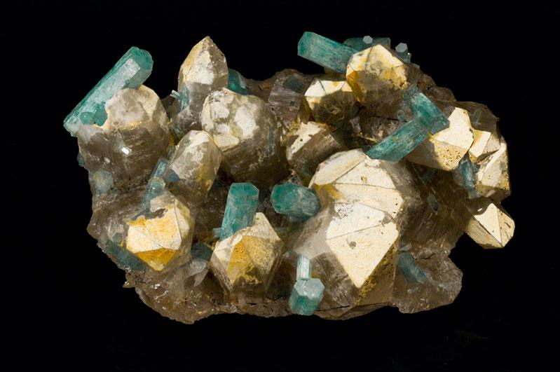 Aquamarine crystals,Erongo, Namibia aquamarine crystals in quartz, 14 cm.