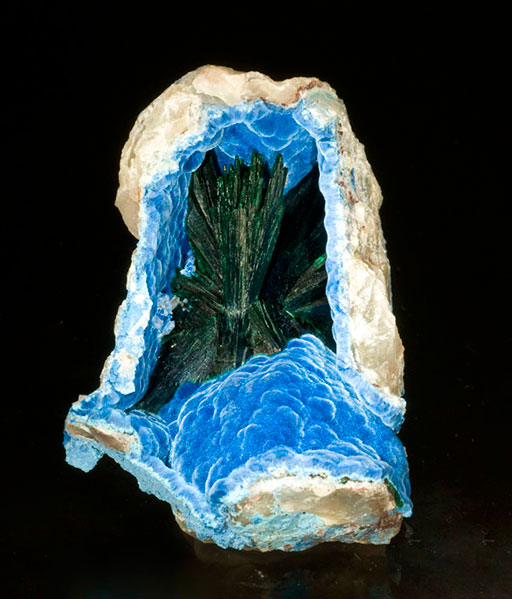 Malachite in shattuckite from the Kaokoveld region of Namibia, 7.5 x 5.4 x 3.1 cm.