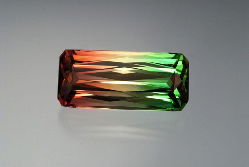 Palagems.com's multi-colored tourmaline, Mozambique 59.40 ct, 36 x 15.23 x 12.57 mm.
