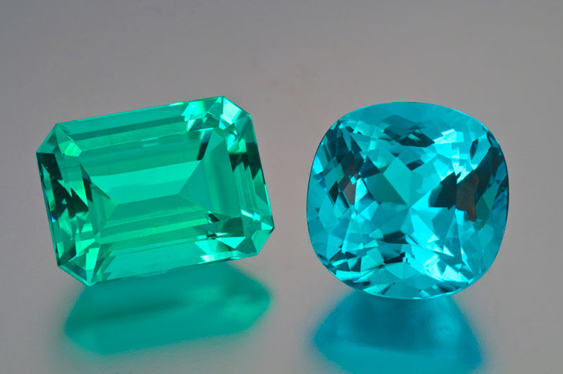Superb 14-plus-carat Paraiba tourmalines.