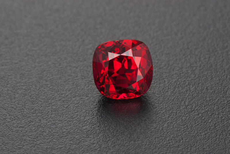 Brilliant/step cut vivid red Mozambique ruby, 3.59 ct, 7.9 x 7.78 x 6.56 mm.