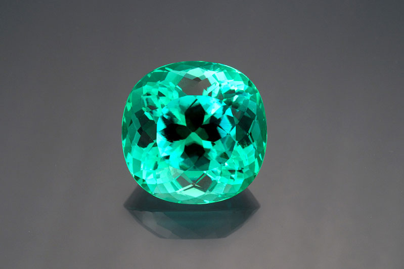 Paraiba-type tourmaline from Mozambique, 70.74 carats, cushion cut, 25.05 x 24.68 x 18.38 mm.