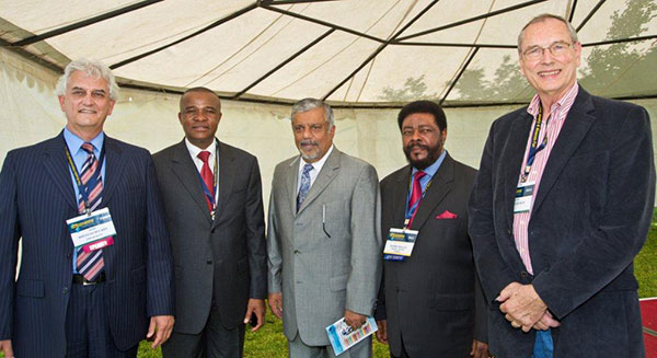 VIP delegates  at the Arusha International Gem and Mineral Fair included (from left to right) Doug Hucker, CEO, American Gem Trade Association; Hon. William M. Ngeleja (former) minister of Energy and Minerals; Abe Suleman of Tuckman Mines and Minerals; Sammy Mollel, Chairman of TAMIDA; and Idar-Oberstein Germany-based gem dealer, Eckehard Petsch. (Photo: Robert Weldon, © GIA 2012)