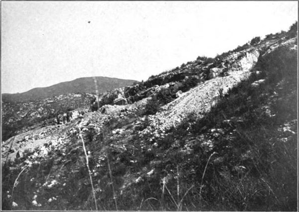 Plate 25.    View of the Gem Mine near Pala in which the Spodumene is found. Looking north. From a photograph by A. C. Lawson.