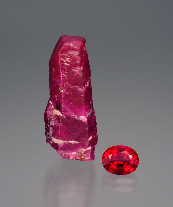 Mong Hsu ruby.  The crystal measures 2.8 x 1.0 cm and weighs 27.28 cts. The faceted gem measures 7.79 x 6.30 4.67 mm, and weighs 1.96 cts. (Photo: Wimon Manorotkul)