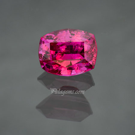 Pink ruby, 2.51 carats, cushion cut, unenhanced, 8.48 x 6.88 x 5.07 mm. Inventory #22464. (Photo: Mia Dixon)