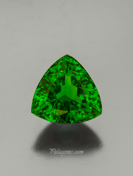 Trillion Green. A 4.36-carat chrome tourmaline, 10.75 x 10.52 x 6.42 mm. #21636 (Photo: Mia Dixon)