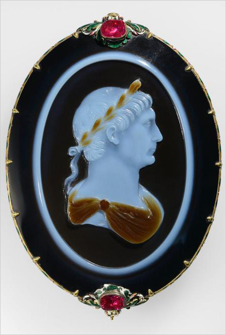 Cameo of Emperor Trajan, about 100 C.E., Roman. Sardonyx set in a seventeenth-century gold, enamel, and ruby mount, H: 8.8 x L: 6.3 cm (3 7/16 x 2 1/2 in). Bibliothèque nationale de France, Département des monnaies, médailles et antiques, Paris. Typographers (if the breed has not died out) and layout artists will recognize the Emperor's name as that of an elegant serif typeface based on the inscription on the column that celebrates Trajan's victory in the two Dacian Wars of the early 100s C.E.