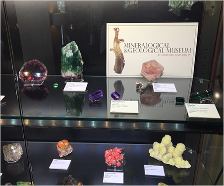 Ivy League.  From the Tucson Gem and Mineral Show. Above, a display from the Mineralogical & Geological Museum at Harvard University with several examples of rough-and-cut stones from U.S. localities. Below, the elbaites from the same display. (Photos: Will Larson)