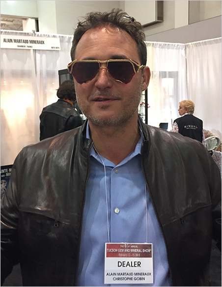 Aviator-style.  Christophe Gobin dons tourmaline glasses crafted by Denver designer Naomi Hinds. We featured  another pair  in the December edition of our mineral newsletter.