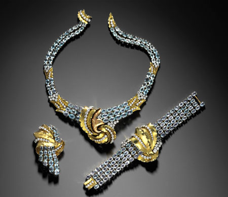 Andy's Babies. Joan Crawford suite of jewelry, about 1935. Verger Frères (French, founded in 1911). Gold, diamond, and aquamarine. Promised gift of Jean S. and Frederic A. Sharf. (Photo: © Museum of Fine Arts, Boston)