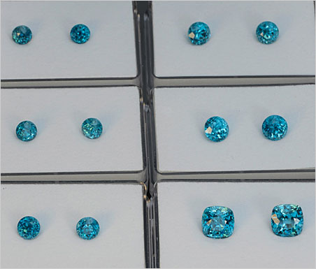 Nice Pair! A sample of the great new selection of blue zircons at Pala International. Rounds range from 6.4 to 8 mm, cushions are 9.8 mm. (Photo Mia Dixon)