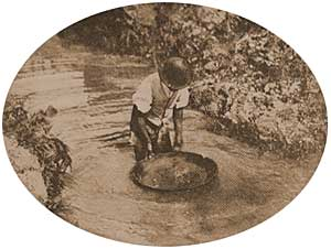 A diamond miner and his pan