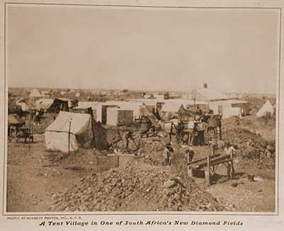 A tent village in one of South Africa's diamond fields