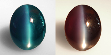 This 15-ct. cat's eye alexandrite, here shown in daylight (left) and incandescent light (right) is a classic example of this gem variety. (Photo:   Wimon Manorotkul   ; Gem:    Pala International   )