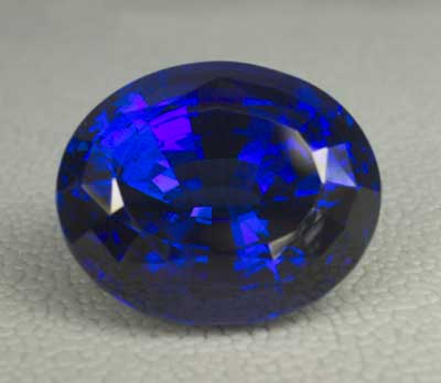 A stunning 45-ct. tanzanite from Pala International. (Photo:    Wimon Manorotkul   ; Gem: Pala International)