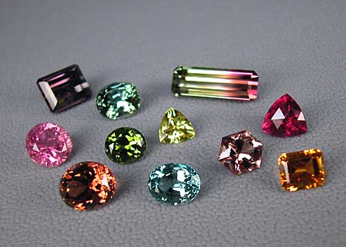 A suite of tourmalines from Pala International illustrates the tremendous variety within this gem family. (Photo: Wimon Manorotkul)