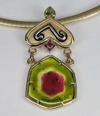This watermelon tourmaline pendant from California's Himalaya Mine is a wonderful example of the variety. (Jewelry:   The Collector  ; Photo: Wimon Manorotkul)