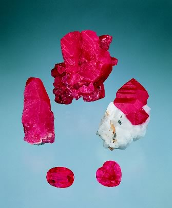 Fine ruby specimens. The crystals are from, from left to right, Afghanistan, Vietnam and Tanzania, while the two faceted gems are from Mogok, Burma.   (Photo: Harold & Erica Van Pelt; Gems:    Pala International   ).