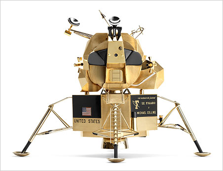 Module model. Lunar Excursion Module, made for and formerly owned by Apollo 11 astronaut Michael Collins, designed and owned by Cartier. (Photo courtesy Carnegie Museum of Natural History, Pittsburgh)