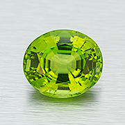 Spring has sprung. Celebrate it with a natural Burma peridot, 17.38 ct, Inv. #22545. (Photo: Mia Dixon)