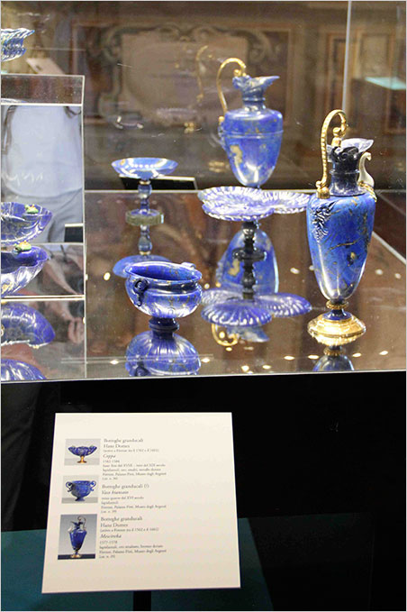Not dishwasher safe.  In the foreground is a two-handled amphora thought to have been crafted in the grand ducal workshops of the Medici during the third quarter of the 16th century. The ewer (1577–1578) that stands to the right is attributed to Hans Domes, from those same workshops. These are from the collection of the Silver Mseum. (Photo: S. Tavernier)