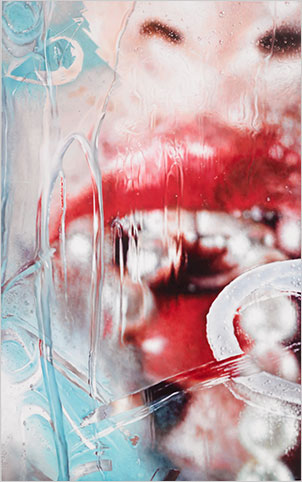 Marilyn Minter,   Torrent  , 2013. Enamel on metal, 96 x 60 inches. Private collection, Palm Beach, FL.