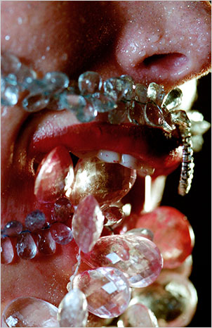 Marilyn Minter, Vampire, 2004. C-print, 86 x 60 inches. Courtesy the artist, Salon 94, New York, and Regen Projects, Los Angeles.
