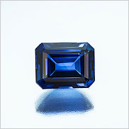 Blue buy, you? Natural blue emerald-cut sapphire, 1.43 carats, from Madagascar. Inventory #22471. (Photo: Mia Dixon)