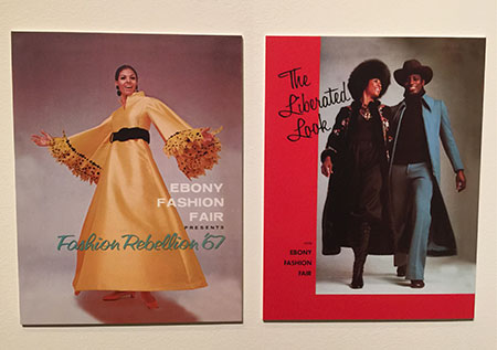 "Signs of the times.  Fashion Fair program covers from 1967—""Fashion Rebellion""—and 1970—""The Liberated Look""—speak to events that were taking place off the runway. (Photocollage: David Hughes)"