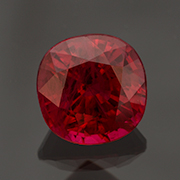 Moody hues. A deep red Burma ruby, 1.59 carats, heated. Inventory #22635. (Photo: Mia Dixon)