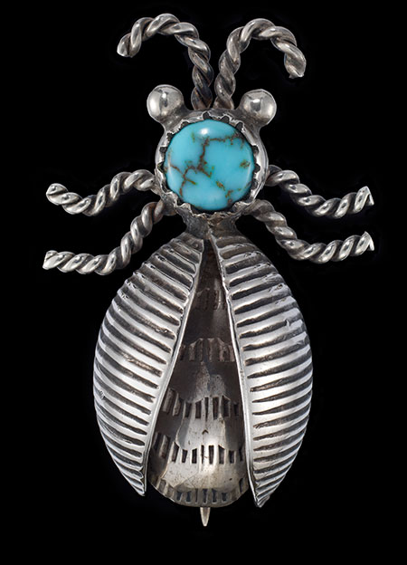 Stamped Beetle Pin with Turquoise. Navajo, ca. 1940–1955, unknown artist (from the bequests of Ruth and Charles Elkus). (Photo: California Academy of Sciences)