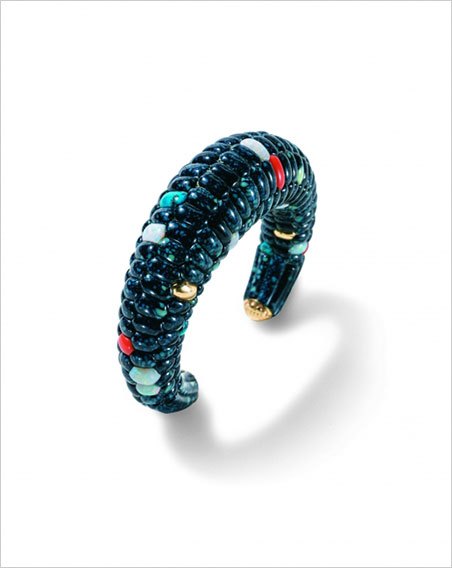Blue Corn Bracelet.  Lee A. Yazzie, 1980. Bisbee and Royal Web turquoise, lapis lazuli, coral, opal. Length, 3¼ in. Collection of Joe and Cindy Tanner. (Photo: © Kiyoshi Togashi)