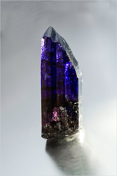 Particolored.  Tanzanite crystal, 385.75 ct, 7.0 x 2.5 cm, from Merelani Hills, Arusha, Tanzania. Price available upon request. (Photo: Mia Dixon)