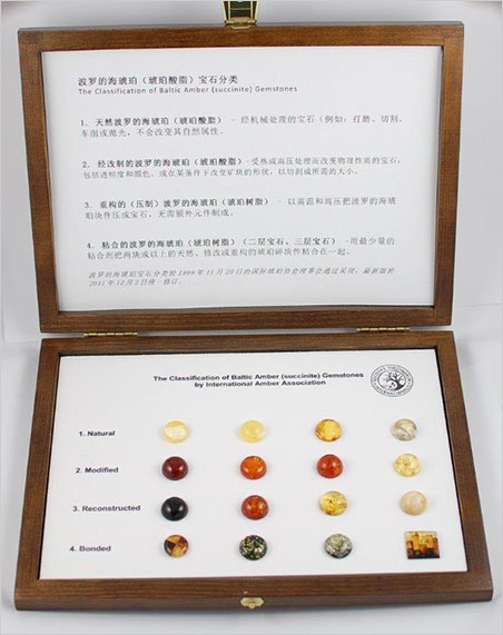 Baltic amber samples are available for purchase from the International Amber Association in the following languages: English, German, French, Japanese, Chinese, Polish and Russian. The definitions are based on the CIBJO  Blue Book . For information on the samples,  contact  the IAA.