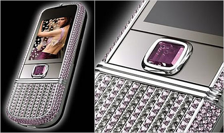 "Bling thing. While it features more than twice the number of diamonds and five times the total carat weight, this Nokia Arte Pink from 2008, can't match the simple elegance of Savelli's new releases, which are inspired by lines that ""lead the eye on a wanton kind of chase"" (Hogarth)."