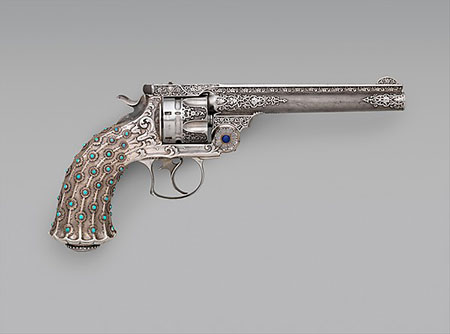 Get a grip.  Smith and Wesson New Model No. 3, .44 Caliber Double-Action Navy Revolver, serial no. 23060, ca. 1891–92, steel, silver, turquoise, lapis lazuli. Purchase, Arthur Ochs Sulzberger Gift, 2013. (Photo courtesy Metropolitan Museum of Art)