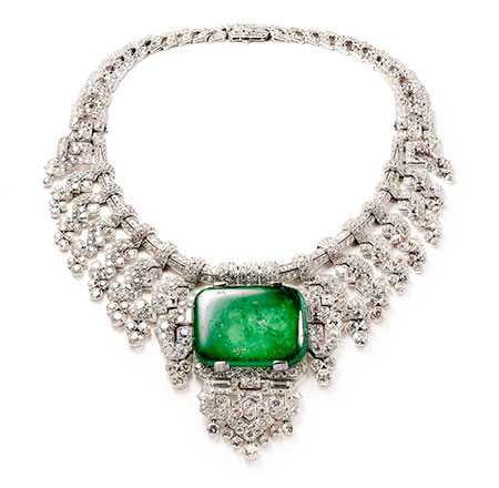 Front and center. Necklace worn by the Countess of Granard, Beatrice Mills Forbes, from a wealthy family that specialized in thoroughbred horse racing. Her brother, Ogden L. Mills, was Herbert Hoover's treasury secretary. This necklace was a special order crafted in 1932 by Cartier London of platinum, diamonds and emerald. The center stone is a 143.23-carat emerald-cut cabochon. Height at center 8.80 cm. Cartier Collection. (Photos: Nick Welsh, above, Cartier Collection © Cartier; Bain News Service, below, undated, courtesy Library of Congress)