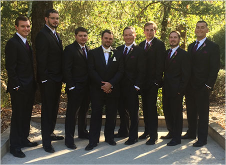 Groomsmen. From left, Chris Anson, Jason Engel, Carl Larson, Will Larson, Dan Szajngarten, Ben Sobczak, Trey Fleming, Jacob Ceseña. (Photo: Bill Larson)